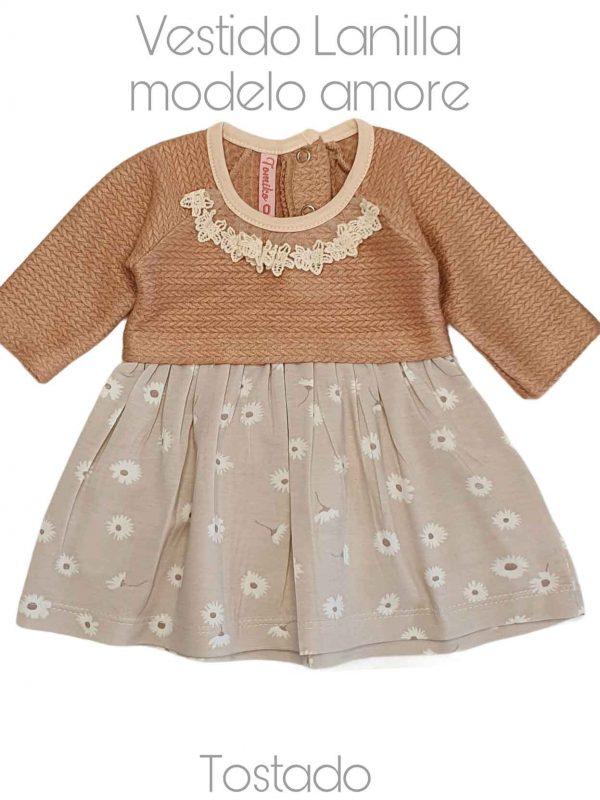 venta-de-ropa-para-bebes-vestido-amore-tostado